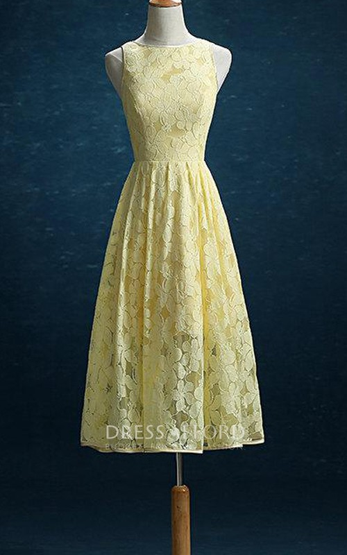 Bateau Sleeveless Lace Knee-length Dress With Pleats