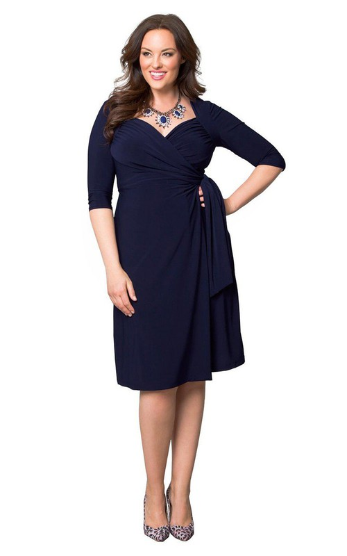 Jersey Half Sleeve midi Criss cross Ruched Dress With Draping