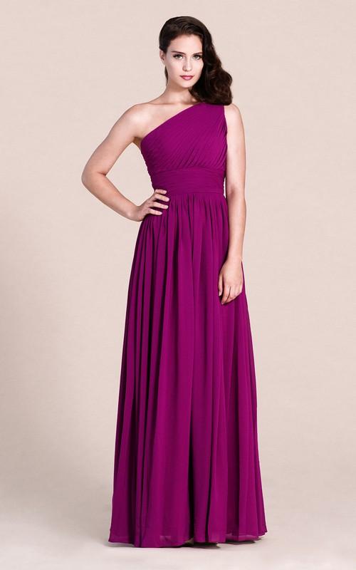 Long Chiffon High-Waist Single-Shoulder Floor-Length Bridesmaid Dress
