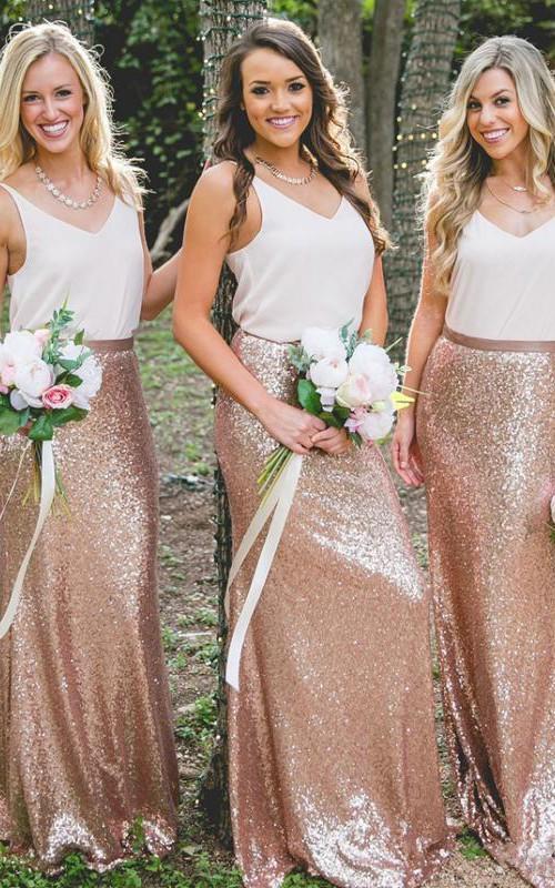 Straps V-neck Chiffon Sequins Sleeveless Floor-length Sheath Bridesmaid Dress