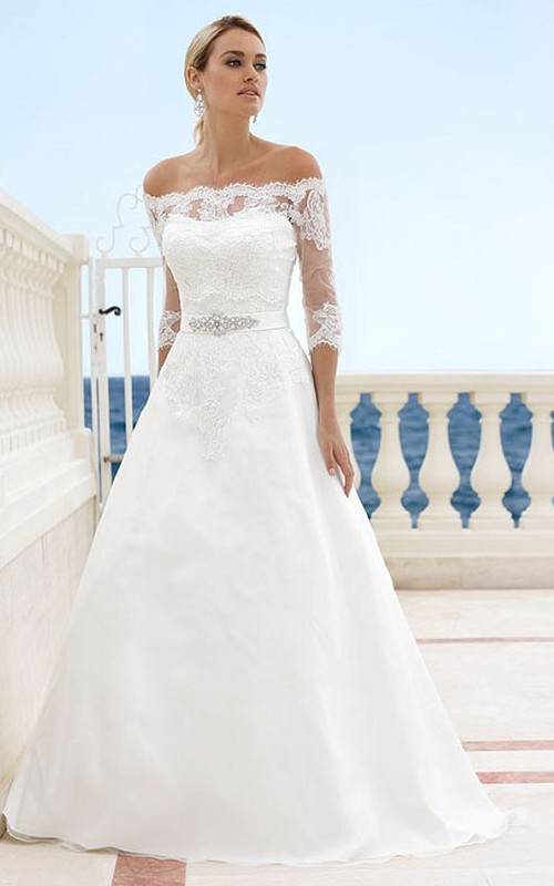 Off-the-shoulder 3-4-sleeve A-line Wedding Dress With Lace