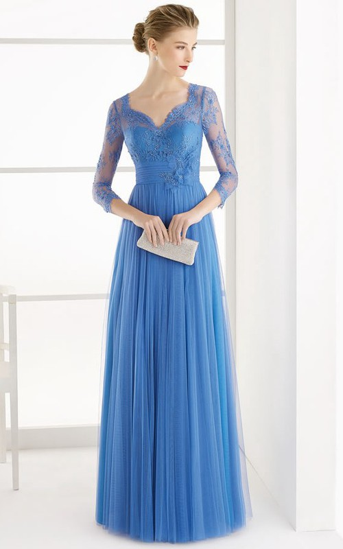 V-neck Illusion Long Sleeve Tulle Dress With Lace Appliques
