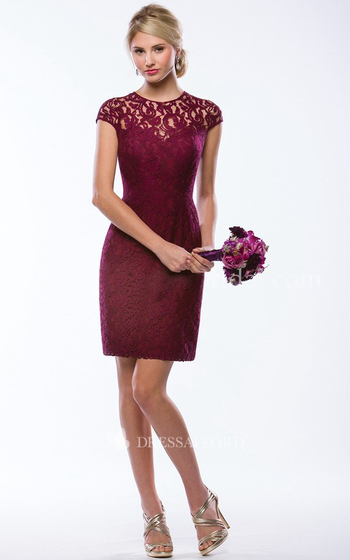 Pencil jewel-neck cap-sleeve Lace Dress With Illusion back