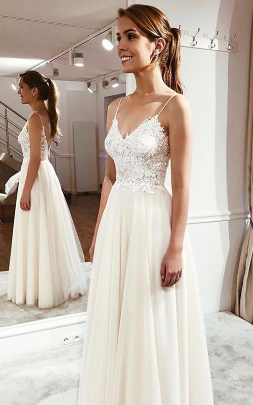 Simple Cute Spaghetti Bridal Gown With Lace Appliques And Ethereal Tulle Skirt