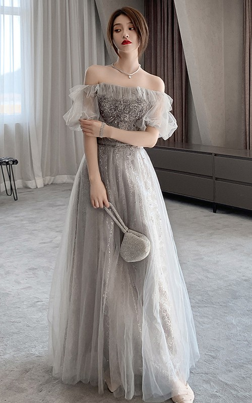 Off-the-shoulder High Neck Tulle Long Prom Evening Formal Dress With Appliques
