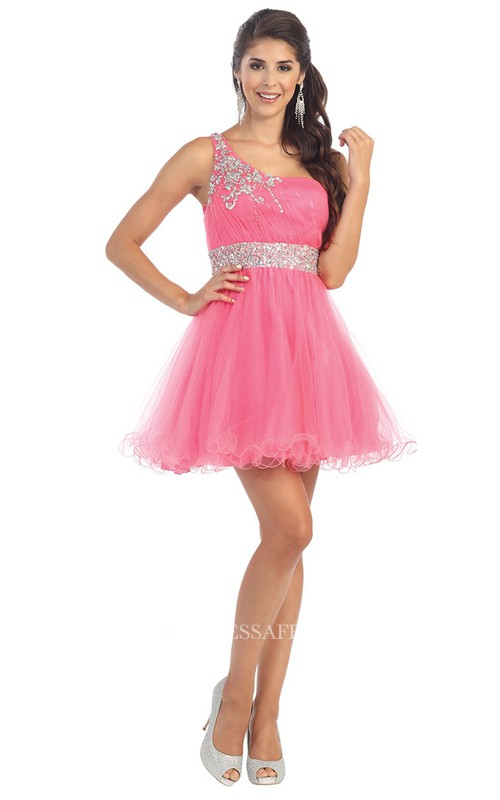 A-Line Mini One-Shoulder Tulle Straps Dress With Ruffles And Waist Jewellery