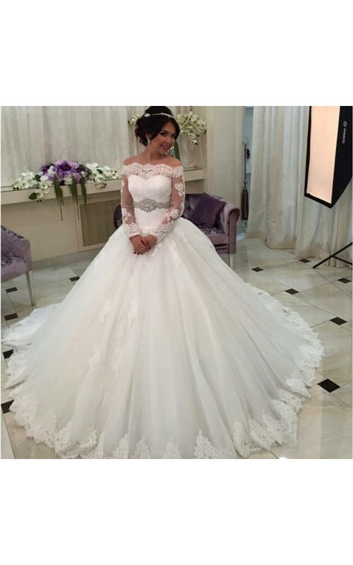 Tulle Jeweled Waist Belt Long-Sleeve Off-The-Shoulder Ball Gown