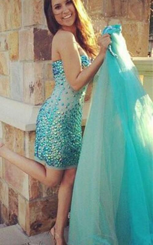 Evening Tulle Long Train Jewels Glamorous Dress
