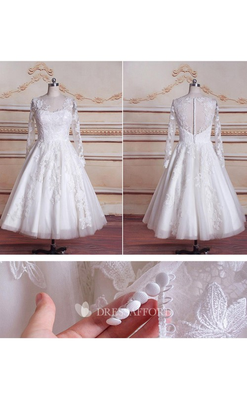 Lace Button Zipper Long-Sleeve Tea-Length Dress