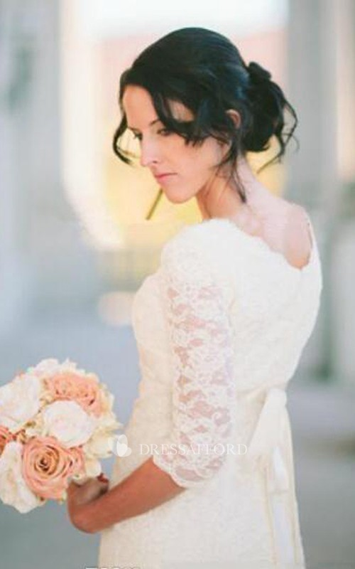 V-neck Lace Illusion 3/4 Length Sleeve Wedding Gown