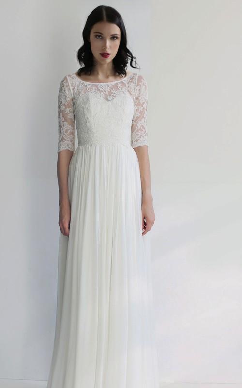Simple Sheath Chiffon Bateau Half-Sleeve Pleated Wedding Dress
