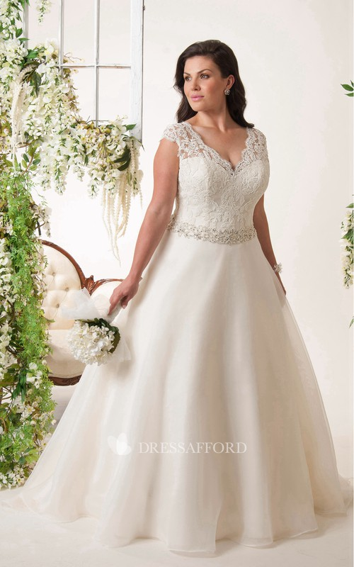 Plunged Lace Cap-sleeve Ball Gown plus size wedding dress With Beading And Corset Back
