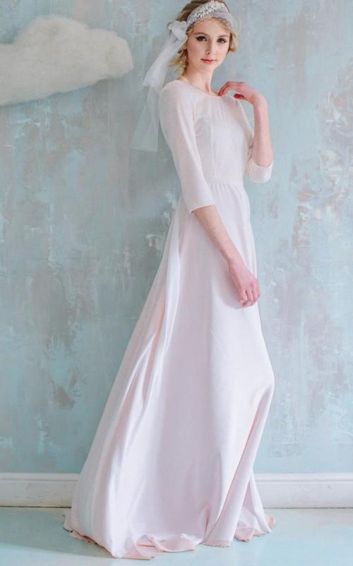 sheer Scoop-neck 3-4-sleeve Floor-length Dress