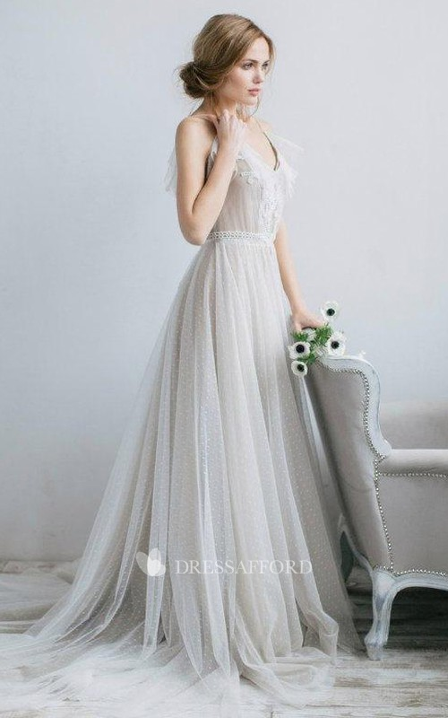 Tulle Pleated V-Neckline A-Line Illusion Gown