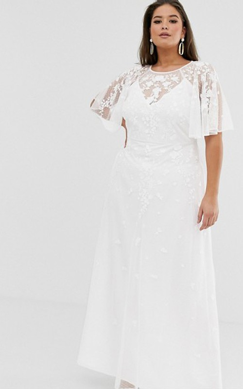 Casual Chiffon and Tulle Sheath Wedding Dress with Appliques