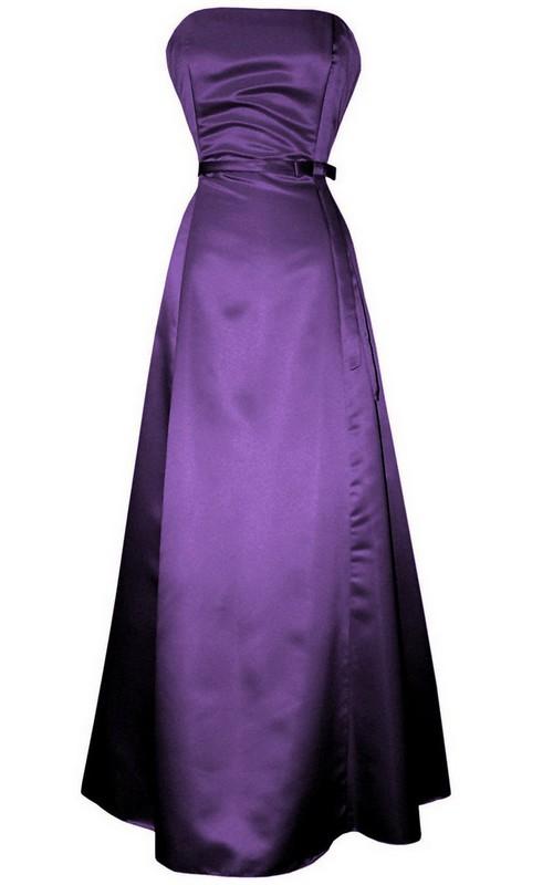 Long Sash Satin Ruched Sleeveless Strapless Floor-Length Dress