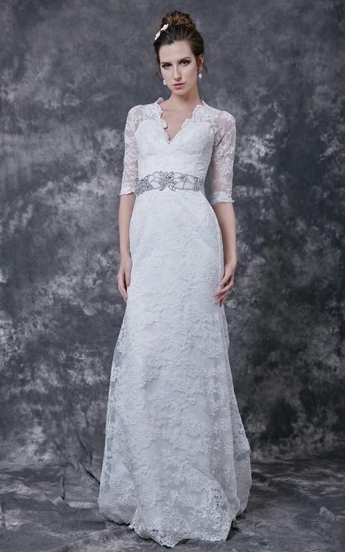 Lace Crystal Embellished Waist 3-4-Sleeve Stylish Dress