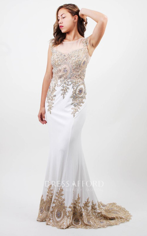 Sheath Bateau Sleeveless Jersey Illusion Dress With Beading