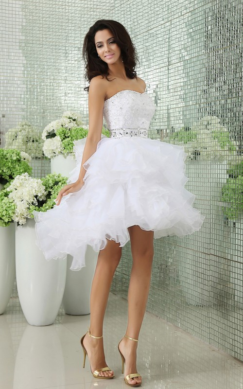Crystals Ruffles Short Strapless Dress