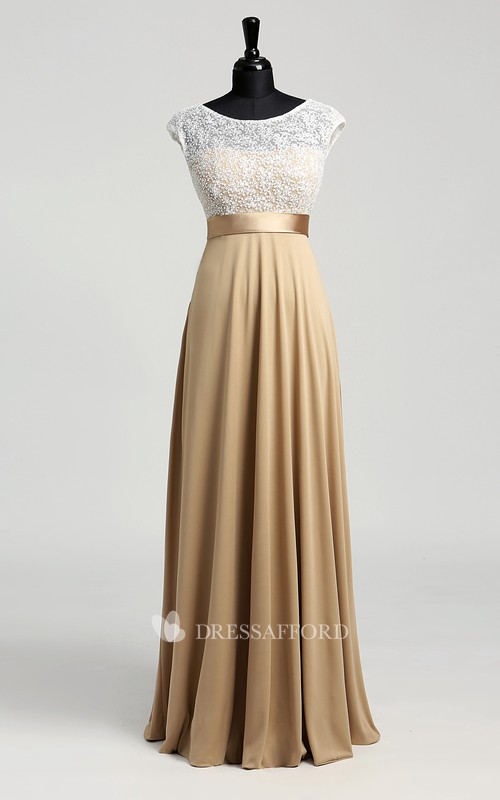 A-line Jersey Lace Bateau Floor-length Short Sleeve Lace Dress with Sash/Ribbon