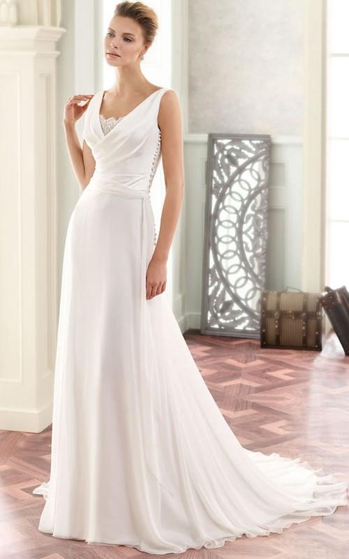 casual V-neck Sleeveless draped Wedding Dress With Sweep Train