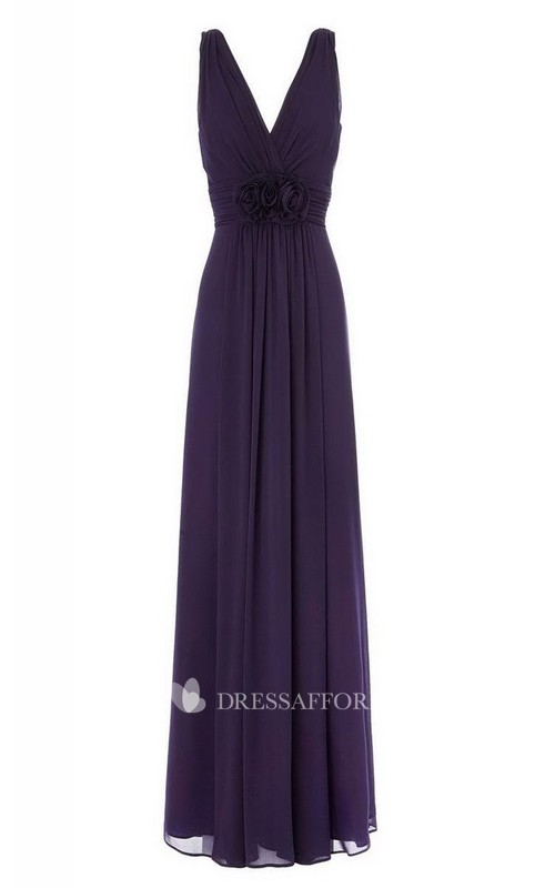 High-Waist Floral V-Neckline Sleeveless Chiffon Gown