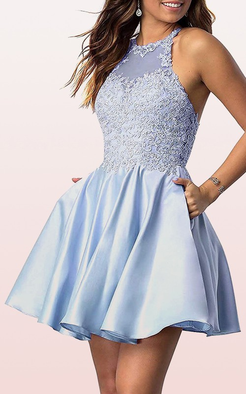 Jewel Satin Lace Sleeveless Short Cross Back Homecoming Dress with Appliques