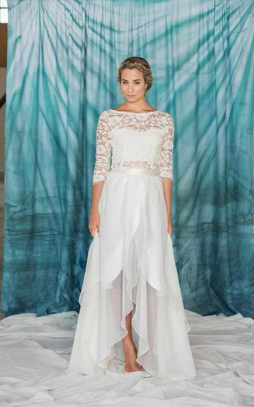 Bateau 3-4-sleeve Front-split draped Wedding Dress With Lace top