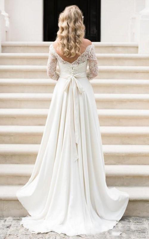 Bateau Chiffon Lace Illusion 3/4 Length Sleeve Wedding Gown