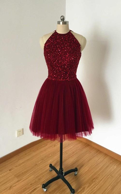 Burgundy Tulle Short Dress With Kayhole Back And Beading