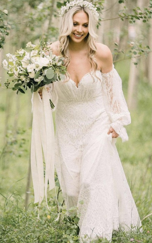 Beautiful Off-the-shoulder A Line Lace Floor-length Court Train Wedding Dress with Ruching