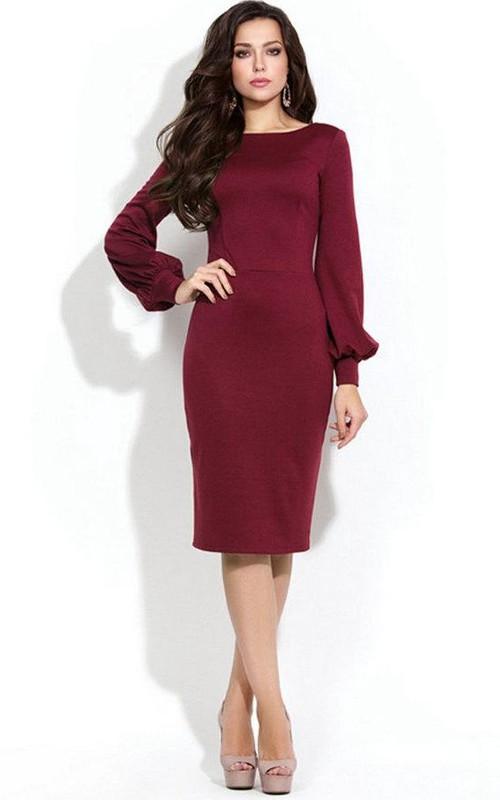 Bateau Long bell-sleeve Pencil Knee-length Dress With Low-V Back
