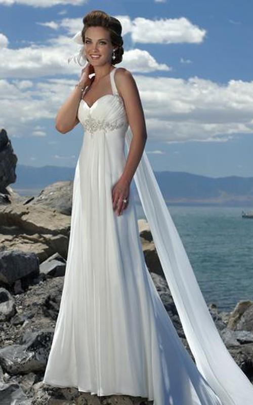 Chiffon Spaghetti Empire-Waist Wedding Dress