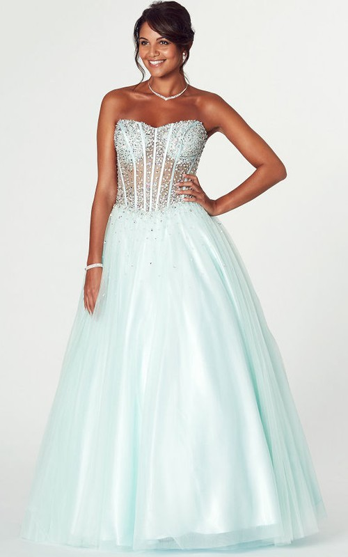 A-Line Strapless Beaded Tulle Prom Dress With Lace-Up Back