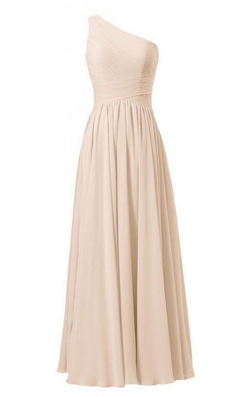 Crisscross Pleated Chiffon Single-Shoulder Gown