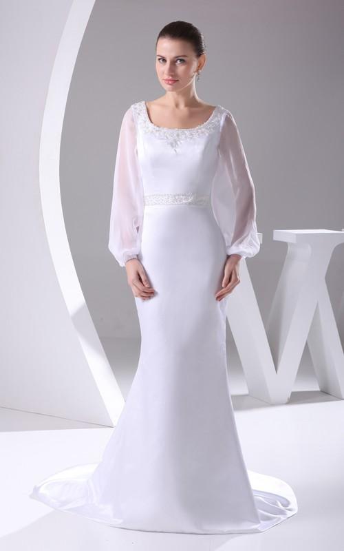 Satin Long-Sleeve Design Court Train Jeweled Bateau-Neckline Dress