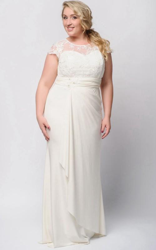 Short-Sleeve Draping Floor-Length Sheath Zipper Jersey Gown