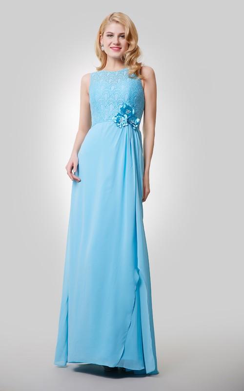 Lace Bodice Jeweled Flowers Chiffon A-Line Dress