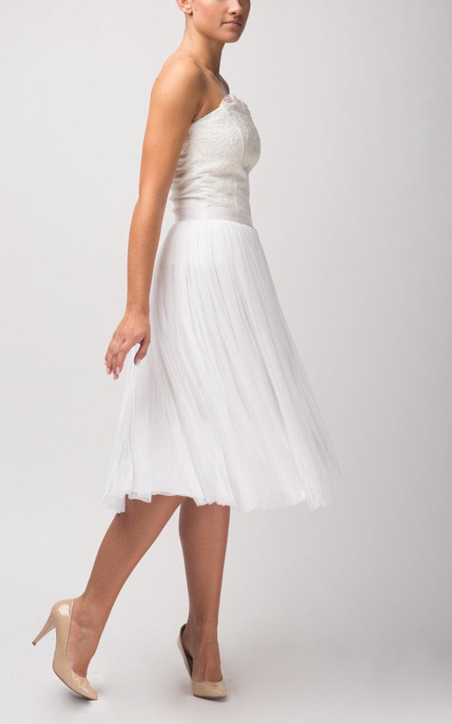 Tulle Lace Top Pleated Skirt A-Line Strapless Dress