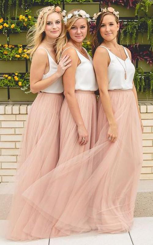 V-neck Chiffon Tulle Sleeveless Floor-length A Line Bridesmaid Dress with Pleats