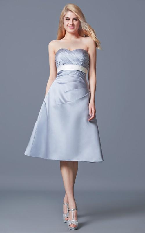 Strapless Ruched A-line Satin Tea Length Satin Dress