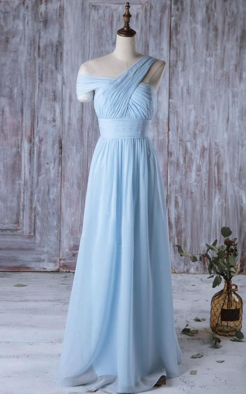 One Shoulder Off Shoulder Empire A-line Chiffon Long Dress