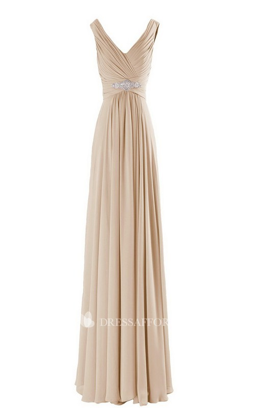 High-Waist Pearls V-Neckline Sleeveless Long Gown