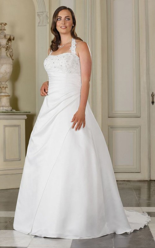 Sleeveless Side Floor-Length A-Line Draping Brush-Train Gown