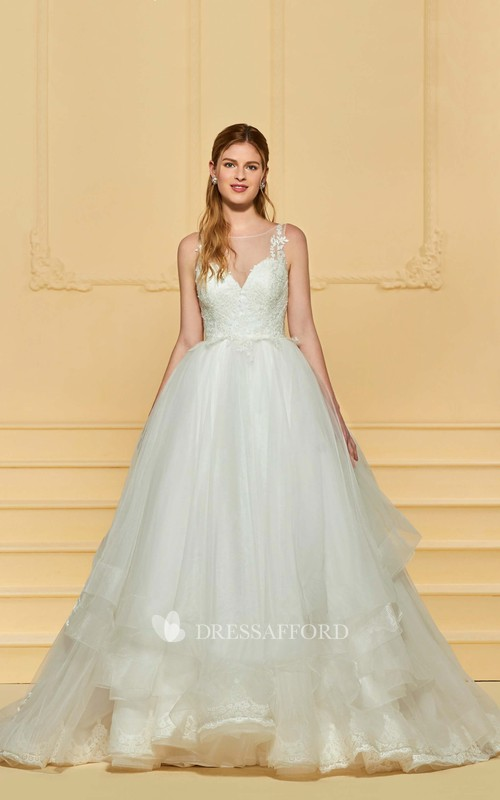 Adorable Cute Sleeveless Lace Ballgown Wedding Dress With Ruflles And Illusion Button Back