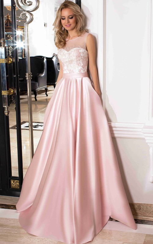 A-line Satin Sleeveless prom dress With Low-V Back
