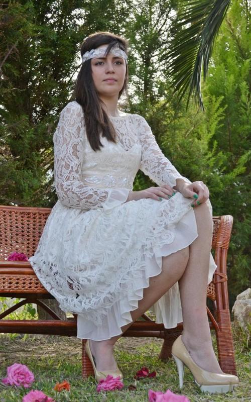 Lace Satin Ribbon Sequins Illusion-Sleeve Bateau-Neck Dress