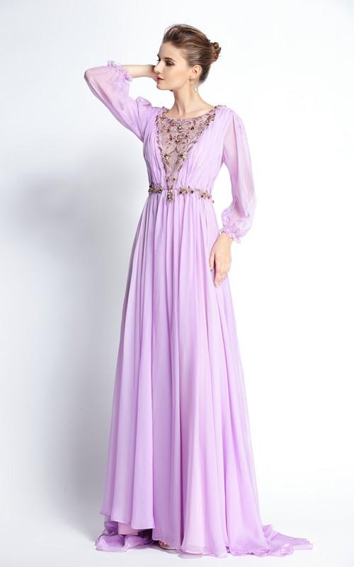 Floor-length Sweep Brush Train A-Line Bateau Long Sleeve Chiffon Prom Dress with Beading and Pleats