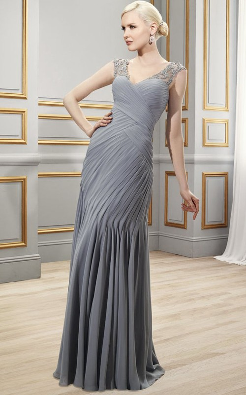 Cap-sleeve Criss cross Ruched Dress With Illusion Appliqued back