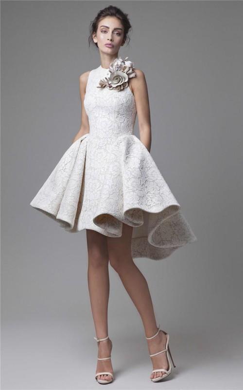 A-Line Appliqued Jewel-Neck High-Low Party Floral Gown